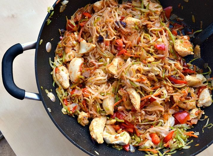Skinny Szechuan Chicken with Noodles - 7 weight watchers points