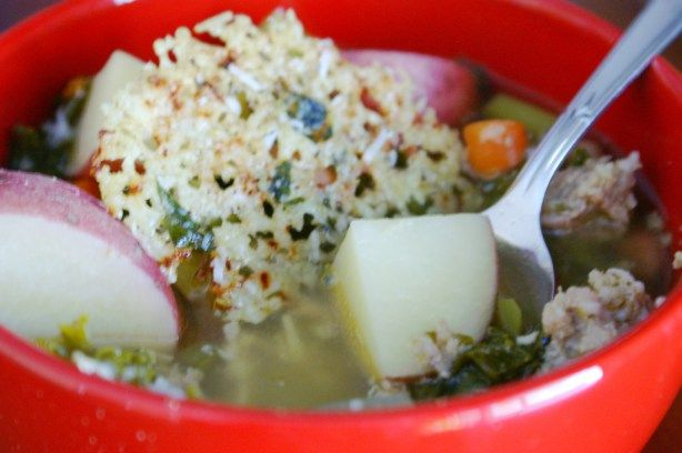 ... SAUSAGE AND KALE CROCKPOT SOUP (with lemon basil parmesan snowflake
