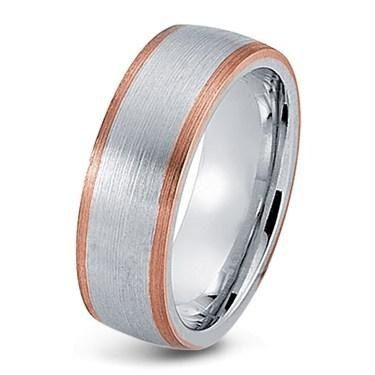 Mens 10K White And Rose Gold Wedding Band Ring 8MM Wide Sizes 4 12 Fr