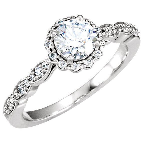 Round Cut Unique Diamond Filigree Antique Vintage Engagement Ring 14K…