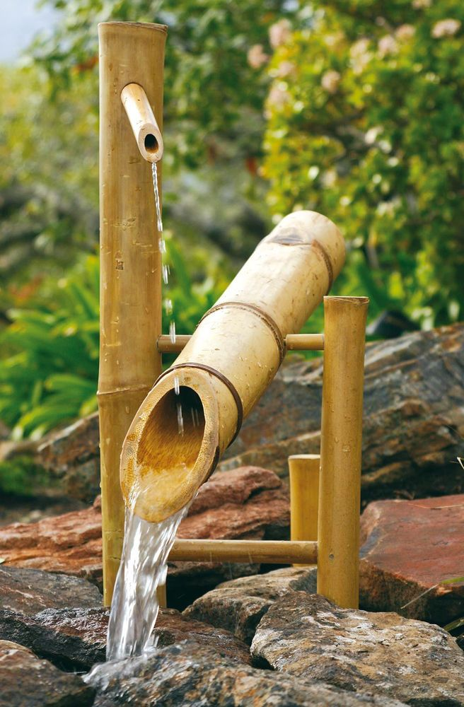 Bamboo large 20 rocking garden water fountain pump kit for Bamboo water feature