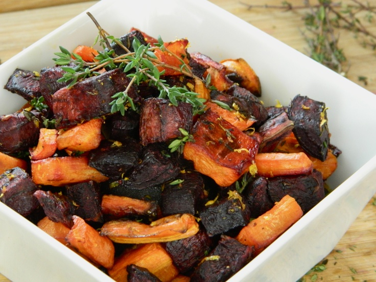 Orange and Thyme Roasted Beets and Carrots. For Thanksgiving?