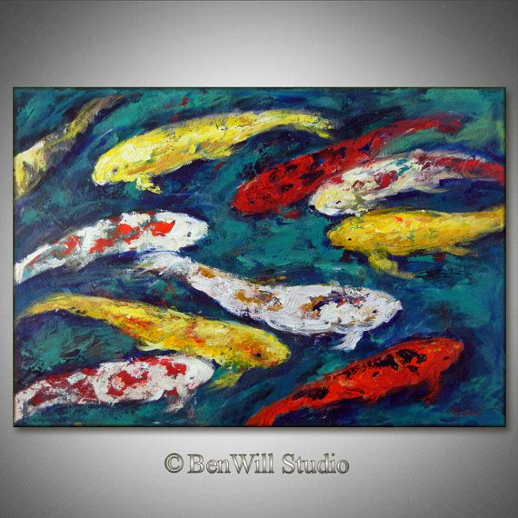 Original koi fish art large abstract impressionism for Original koi fish