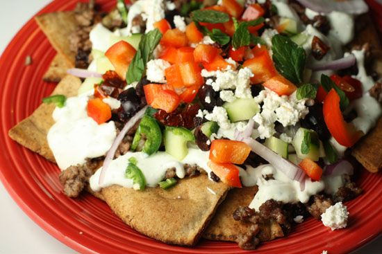 Greek Nachos ( dont do lamb so woukd have to find a substitute).