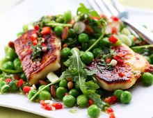 Grilled Halloumi and Pea Salad | Food | Recipies | Pinterest