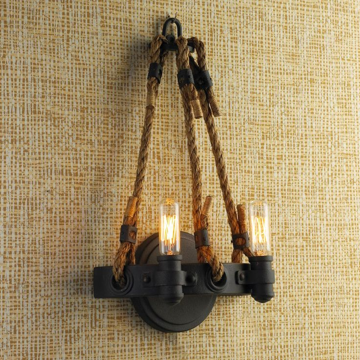 Industrial Candle Wall Sconces : Industrial Rope and Iron Sconce