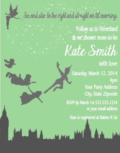 peter pan baby shower or birthday party invitations custom personaliz
