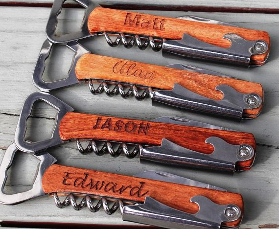 Personalized Corkscrew and Multi-Tool - Groomsmen Gifts - Wedding Party Gifts - Wine Opener on Etsy, $12.00