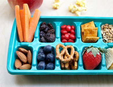 Use an ice cube tray to serve snacks to kids during play date or sleepover. Perfect portions!