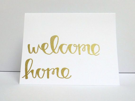 Welcome home modern calligraphy heat embossed