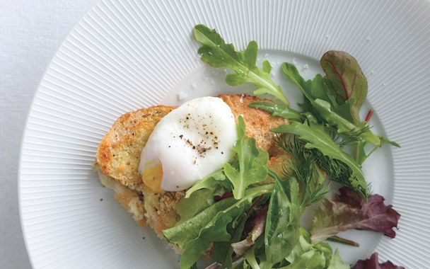 Savory Parmesan Pain Perdu (French Toast) with Poached Eggs and Greens ...