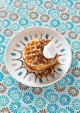 ... Walnut Waffles with Maple-Pecan Syrup #Darigold #FRESH #waffles