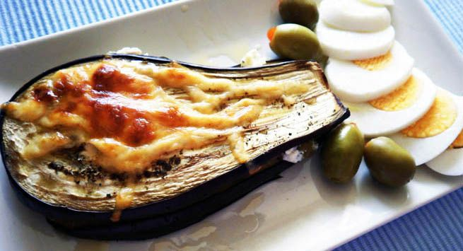 Eggplant stuffed with feta cheese and green olives