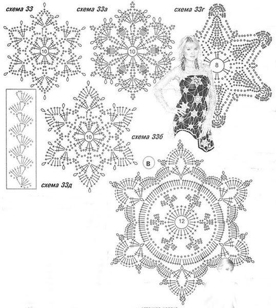 Схема для вязания крючком снежинка 1