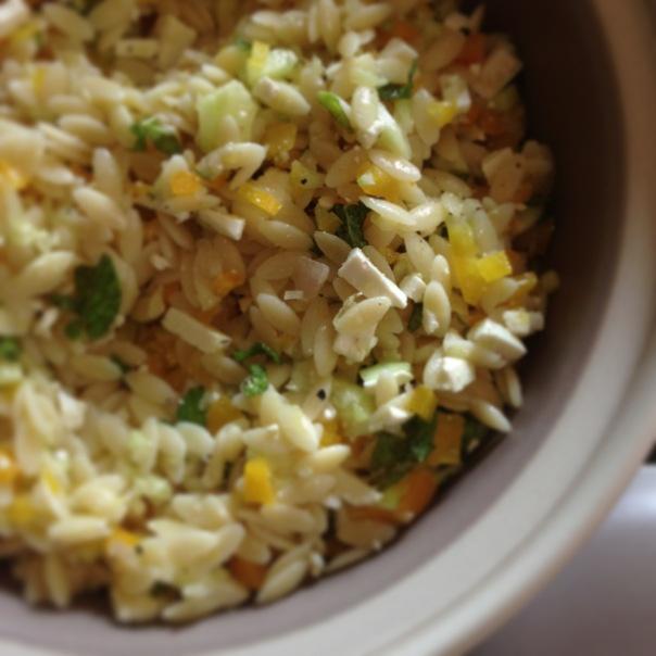 lemon mint ricotta salata orzo   food: salads & dressings   Pinterest