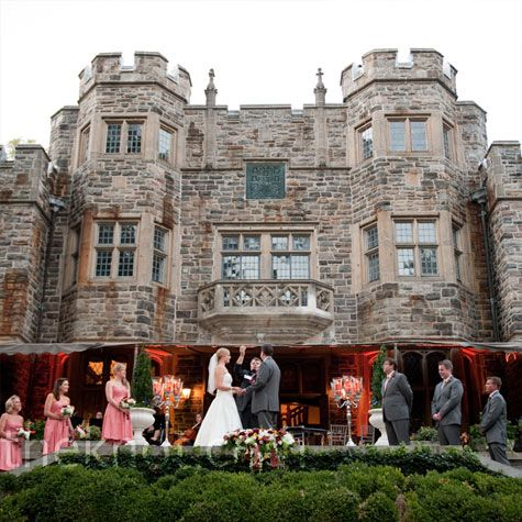 With the grand Maryvale Castle in the background, the bride and groom said their vows on the rear terrace with guests seated on the lawn.