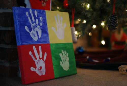 Kids Handprint Christmas Canvas Art