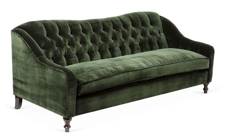 New 28 green velvet tufted sofa green tufted velvet for Button tufted velvet chaise settee green