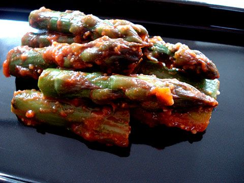 ... asparagus - basically asparagus with chili paste, red miso and mirin