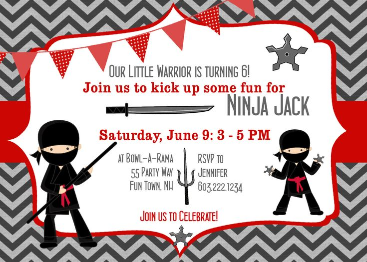 Ninja Birthday Invitations could be nice ideas for your invitation template