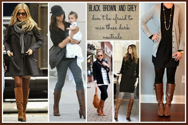 Black, Brown, AND GREY!!!!!  It's totally okay to mix dark neutrals.  You will look so chic!  JUST DO IT!