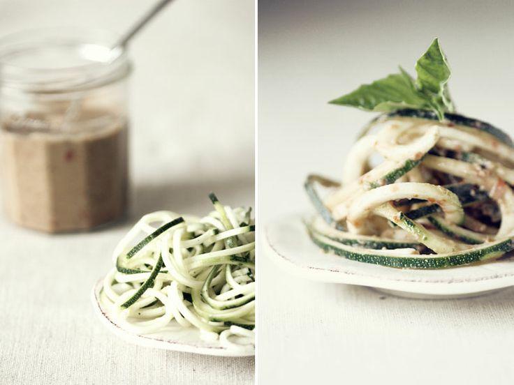 zucchini pasta w/ heirloom tomato and lemon basil