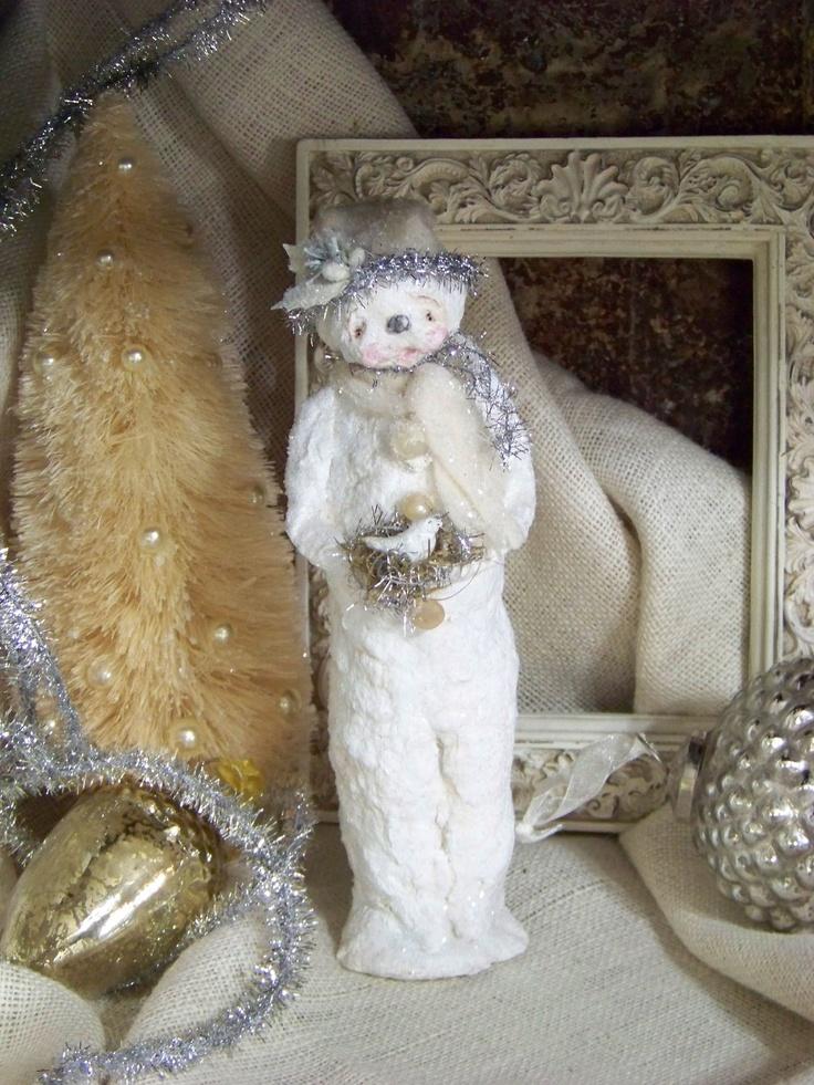 Ooak paper mache folk art snowman christmas pinterest for Paper mache christmas
