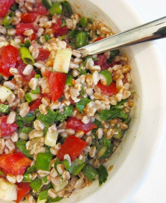 tomato-cucumber-farro salad FARRO IS NOT GLUTEN FREE...I suggest ...