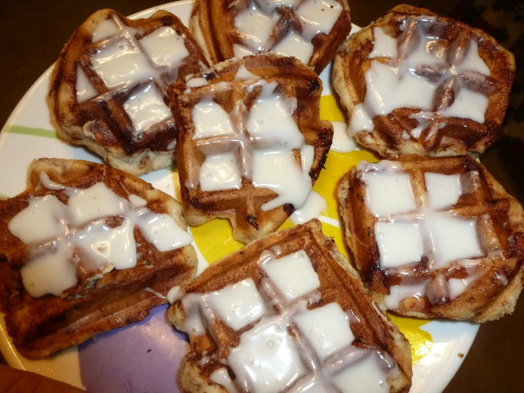 Cinnamon roll waffles... in the Belgian waffle maker. Built in icing ...
