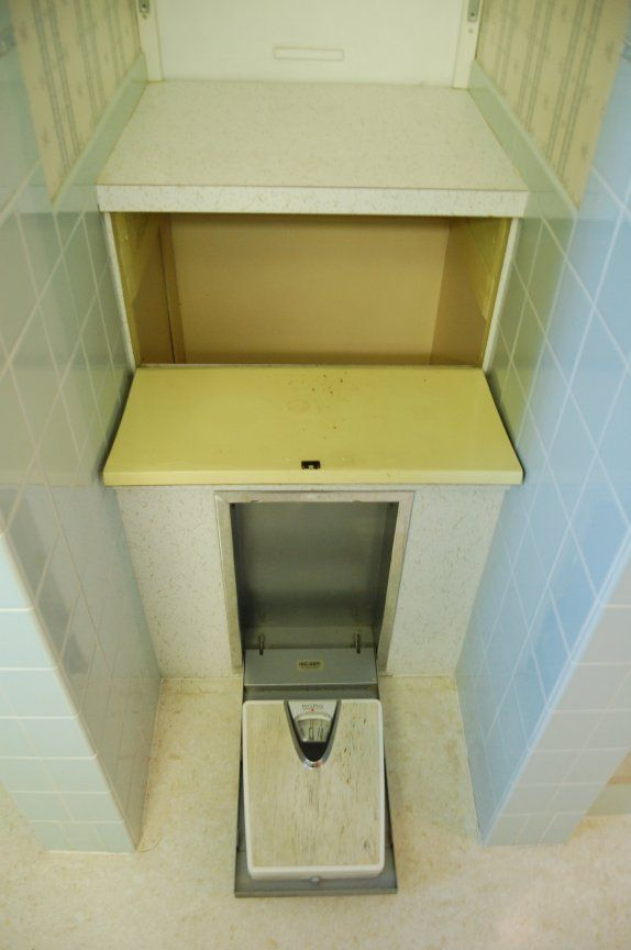 Vintage bathroom laundry chute and recessed scale i need to make the