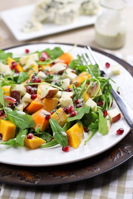 Butternut Squash & Apple Salad With Creamy Blue Cheese Dressing Recipe ...