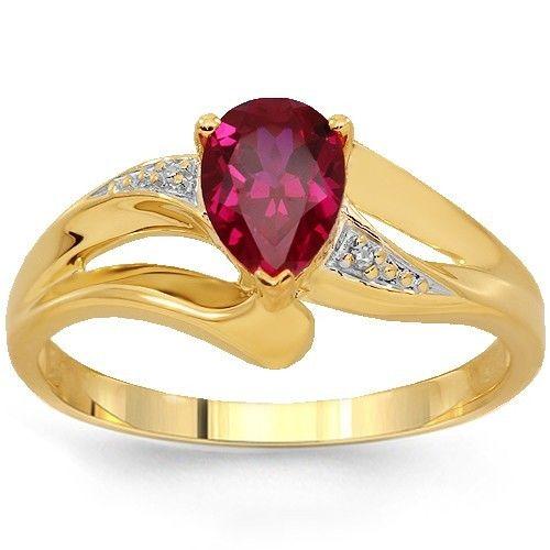 279 (-68% #discount) - 10K Yellow Gold Womens Diamond Ruby Ring 1.03 ...
