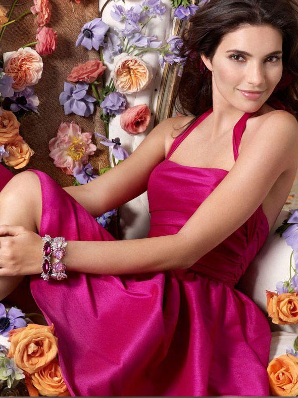 Fuchsia Color Knee-length Bridesmaid Dress with Halter Neckline and ...