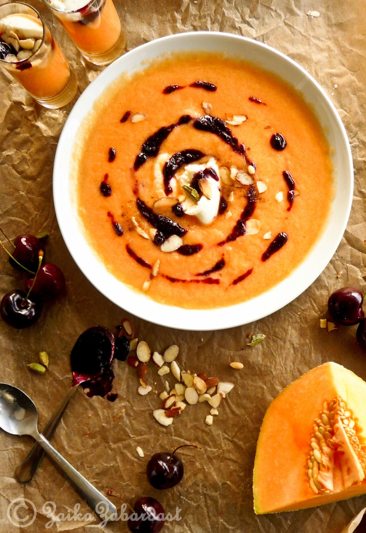Chilled Cantaloupe soup with Cardamom infused cherry compote! Perfect ...
