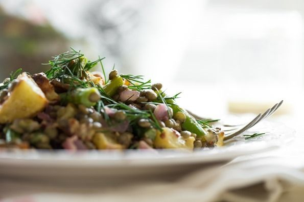 Roasted Potato and Asparagus Lentil Salad with Tangy Mustard-Lemon Dr ...