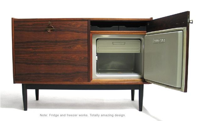 Rosewood cabinet by Ib Kofoed-Larsen with refrigerator, freezer and bar