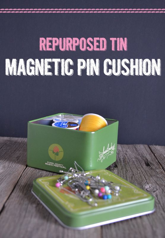 Repurposed Tin - Magnetic Pin Cushion - Great for vintage tins!