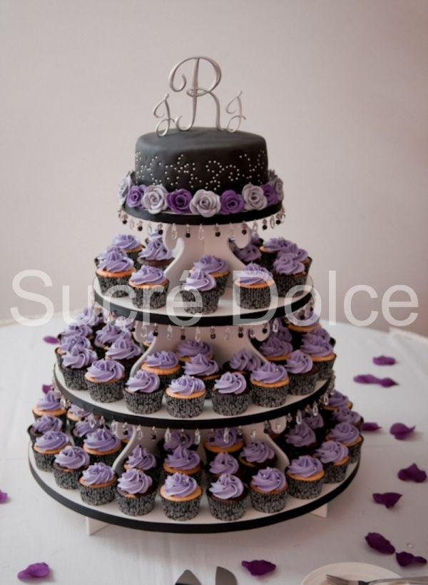 Purple And Black Wedding Cupcake Tower Wedding Cake Pinterest