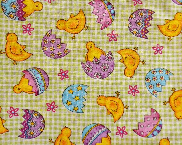 Easter Chicks Green check Fabric Fat Quarter New