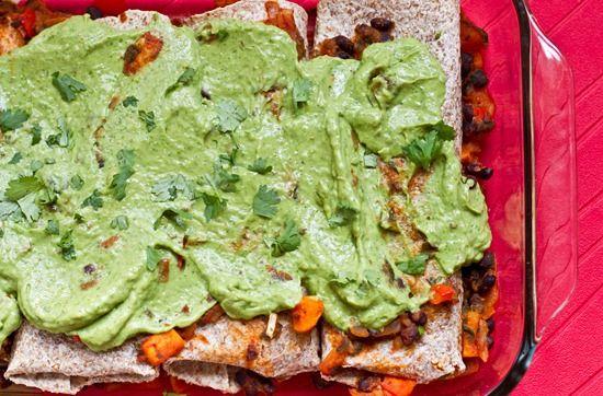 Vegan Enchiladas with Cilantro Avocado Cream Sauce - made this for ...