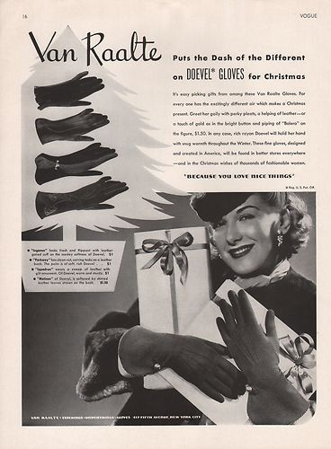 Vintage Christmas themed Van Raalte Doevel Glove ad from 1939. #vintage #gloves #1930s #ads