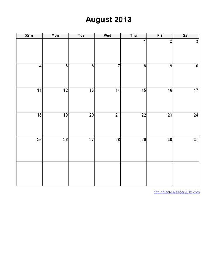 Blank calendar template august 2013 printable calendars for Saturday to friday calendar template