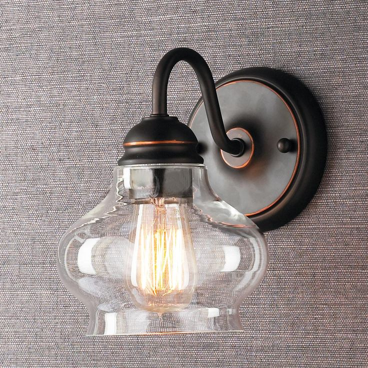 Clear cloche glass sconce available in 2 colors bronze for Farmhouse bathroom light fixtures