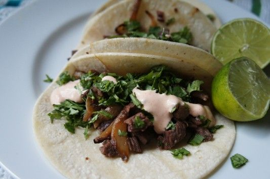 Steak, Cilantro, and Caramelized Onion Street Tacos AND CREAMY YOGURT ...
