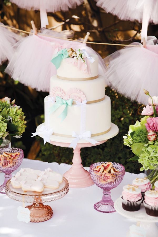 Ballerina Birthday Cake + Tutu Backdrop