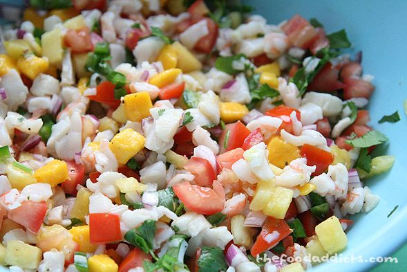 tropical ceviche with shrimp, scallop, mango and pineapple - making ...