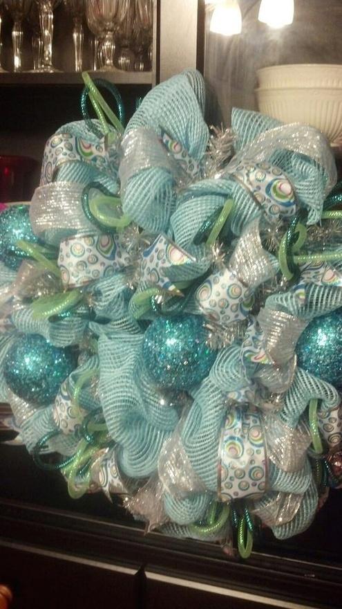 Turquoise Blue Deco Mesh Wreath Christmas Ideas Pinterest