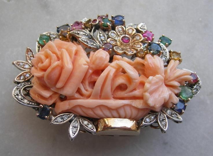 Momo Coral (Япония) Розы, алмаз, рубин, изумруд, сапфир и топаз Брошь / кулон - итальянский c.1920-1930