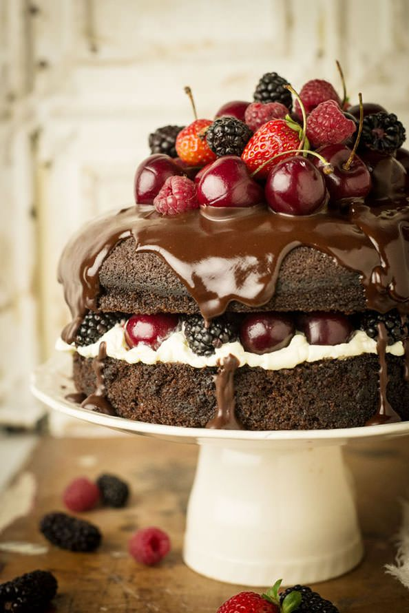 Guinness cake with chocolate ganache and berries