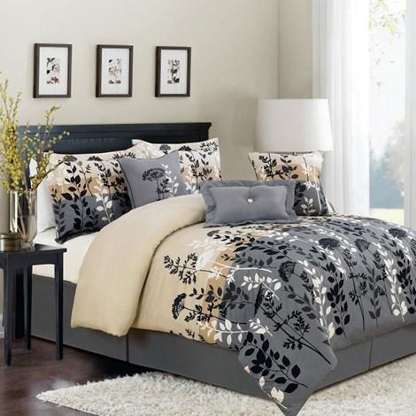7pc full size bedding set ecton leaf home master bedroom pint